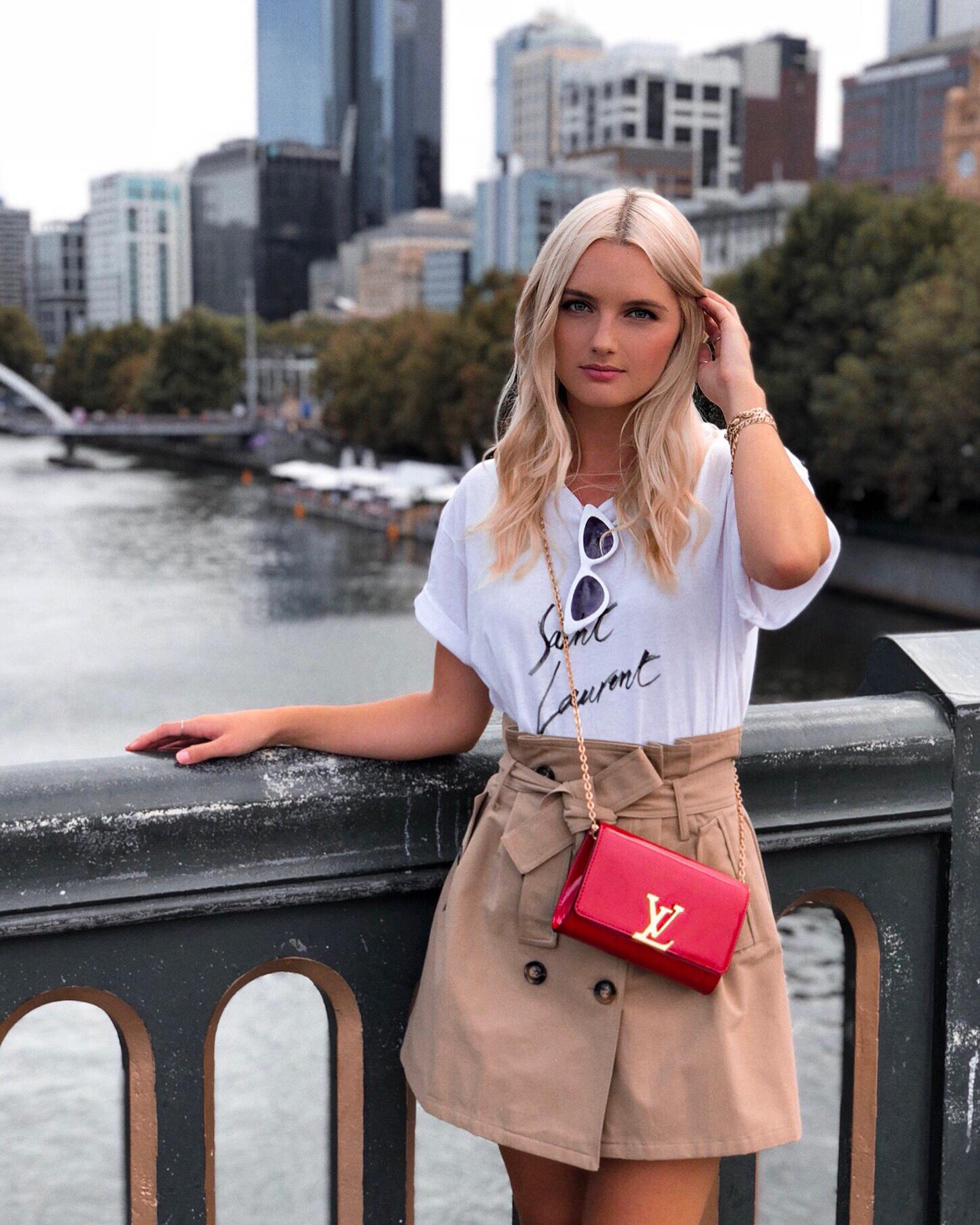 Wearing  Saint Laurent Tee ,  Asilio Skirt ,  Louis Vuitton Bag  &  Tommy Undone Sunnies
