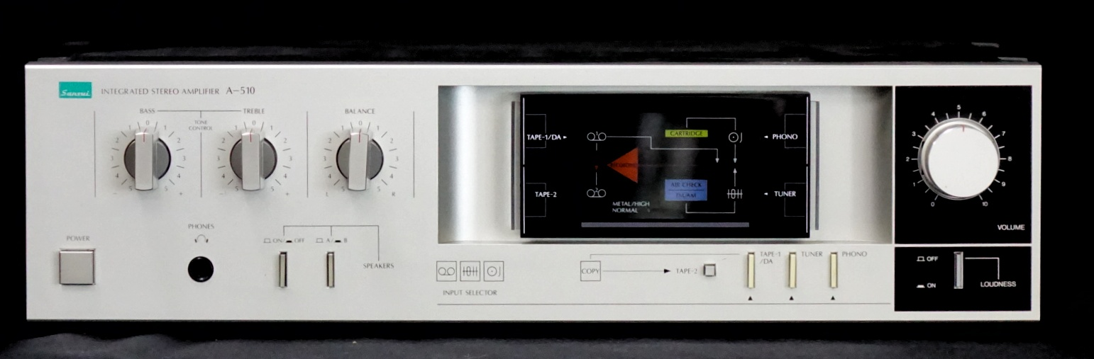 Sansui A-510 Stereo Amp   Power output: 30 watts per channel into 8Ω (stereo) Frequency response: 10Hz to 50kHz Total harmonic distortion: 0.07% Input sensitivity: 2.5mV (MM), 150mV (line) Signal to noise ratio: 72dB (MM), 90dB (line) Output: 150mV (line) Speaker load impedance: 8Ω (minimum) Dimensions: 430 x 118 x 245mm Weight: 4kg  $185
