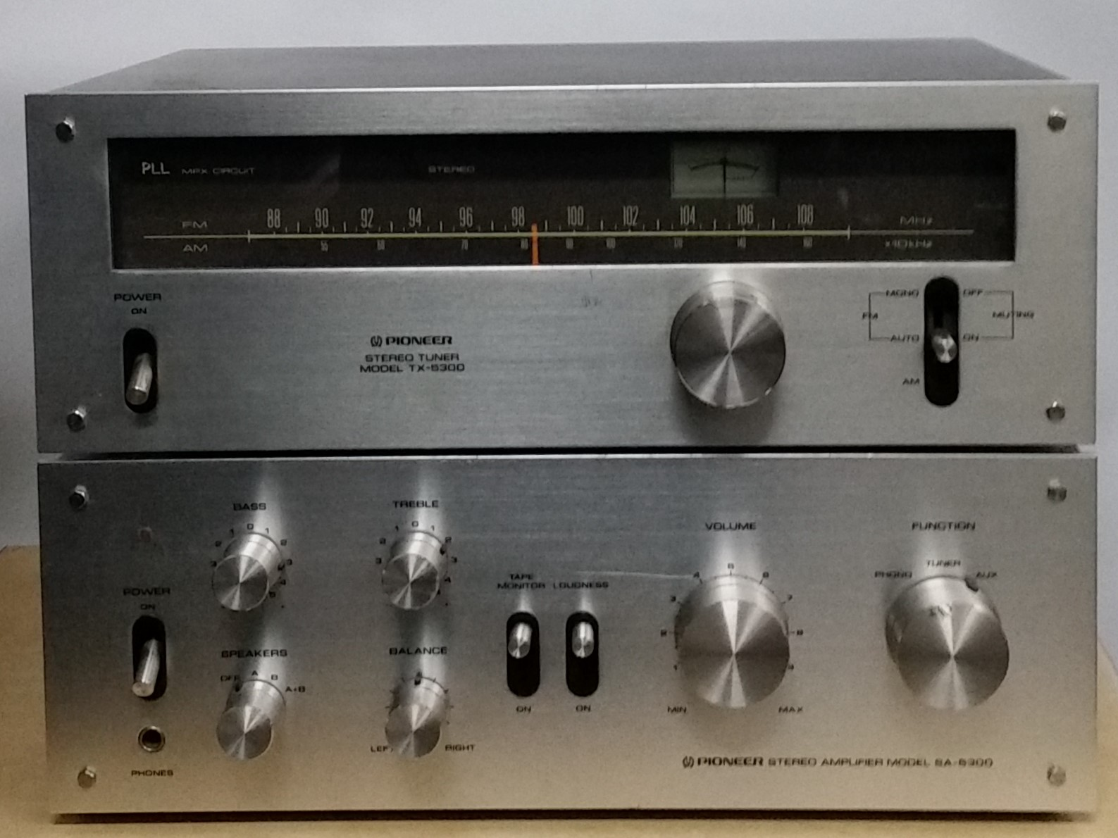 Pioneer SA-5300 amplifier with matching TX-5300 tuner    Very nice amp/tuner combo, has minor blemishes on face and top of amp   The Pioneer SA-5300 is an integrated stereo amplifier producing 10 watts per channel with no more than 0.8% total harmonic distortion.  Features include a tape monitor, loudness control and 2 pairs of speaker outlets.  Power output: 10 watts per channel into 8Ω (stereo)  Frequency response: 20Hz to 30kHz  Total harmonic distortion: 0.08%  Input sensitivity: 2.5mV (MM), 150mV (line)  Signal to noise ratio: 70dB (MM), 85dB (line)  Dimensions: 350 x 125 x 282mm  Weight: 6.4kg  Year: 1976   $325 the pair..
