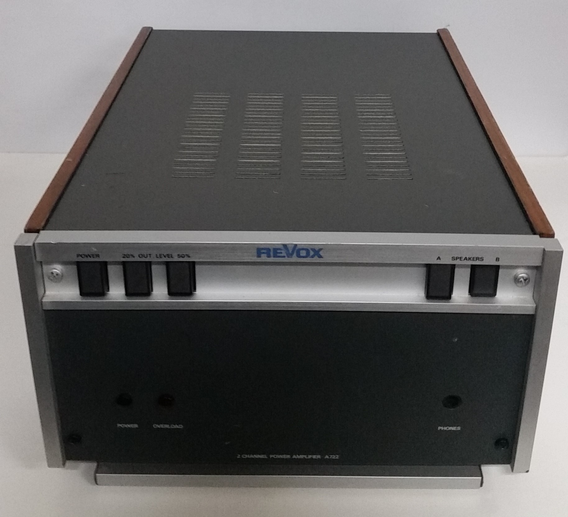 Revox A722 two channel power amplifier   Made in Germany   Specifications:  Manufacturer: Willi Studer/Revox, Germany  Inputs: 775 kohms mV/20  RMS power: 2 x 60 watts into 4 ohms, 2 x 45 watts into 8 ohms  Music power: 2 x 90 watts at 4 ohms  Intermodulation 250 Hz/8000 Hz 4/1 at rated power: <0.3% Frequency response over all: 20-20000 Hz Outputs: Speakers: 4, 4 ohms, headphones: 1  Dimensions: 240 x 151 x 315.5 mm  Weight: 8.9 kg   $595