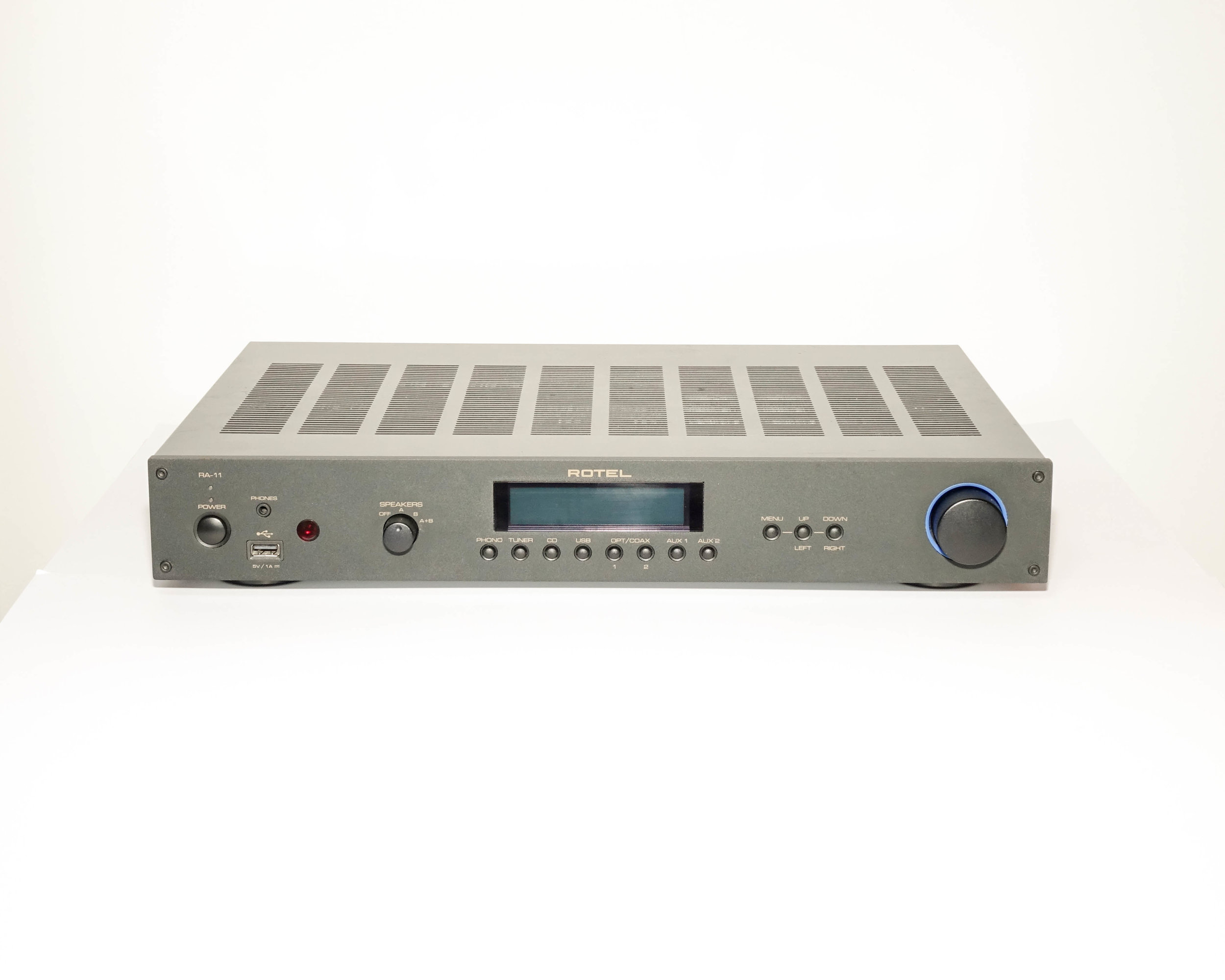"Rotel RA-11    Continuous Power Output : 40Watts/ch (20-20kHz, < 0.03%, 8 Ω)  Total Harmonic Distortion  (20Hz-20kHz): < 0.03% at rated power  Intermodulation Distortion  (60Hz:7kHz, 4:1): < 0.03% at rated power  Frequency Response  (Phono input): 20Hz-15kHz, ±0.3dB  Frequency Response  (Line Level Inputs): 10Hz-100kHz, ±1dB  Input Sensitivity / Impedance  (Phono input): 2.5mV / 47 k Ω  Input Sensitivity / Impedance  (Line Level Inputs): 150mV / 24 k Ω  Input Overload  (Phono input): 180mV  Input Overload  (Line Level Inputs): 5V  Preamp Output / Impedance : 1V / 470 Ω  Tone Controls  (Bass / Treble): ±4 dB at 100Hz / 10kHz  Signal to Noise Ratio  (IHF ""A"" weighted) (Phono input): 80dB  Signal to Noise Ratio  (IHF ""A"" weighted) (Line Level Inputs): 100dB   Digital Section -   Frequency Response : 10Hz-95kHz ±3.0dB (MAX)  Signal to Noise Ratio  (IHF ""A"" weighted): 100dB  Input Sensitivity/Impedance : 0 dBfs/75 Ohms  Pre-out/Impedance : 1.2V/470V (at -20dB)  Decodable Front USB/iPod Digital Signals : AAC (m4a), WAV, MP3, WMA (up to 48K 16bit)  Coaxial/Optical PCM : LPCM  File Formats : Real Audio, MP3, OGG Vorbis, WAV, AIFF and AU   General -    Power Requirements : (AC) 120V, 60Hz (USA) 230V, 50Hz (Europe)  Power Consumption : 220Watts  Standby Power Consumption : 0.5W  Dimensions  (W x H x D): 430 x 72 x 342mm  Panel Height : 60mm  Weight  (Net): 6.39kg"