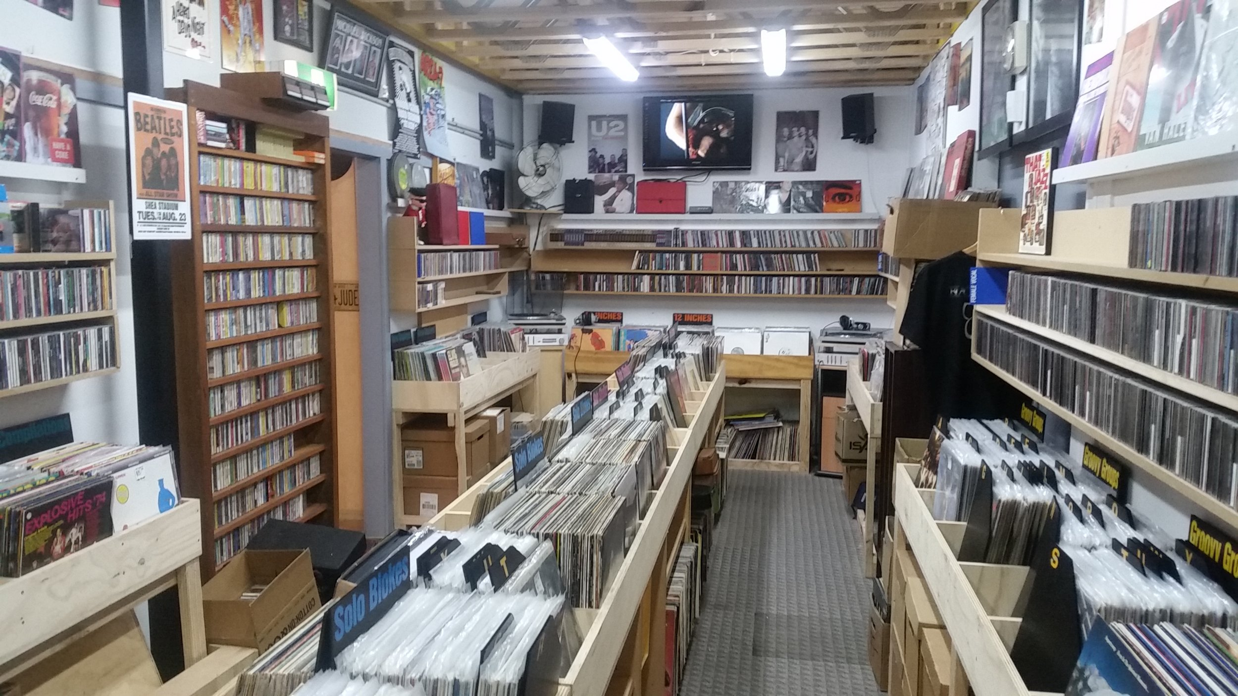 We have a huge range of vinyl records,both LP's and 45's as well as thousands of CD's,not all have been sorted or are in some sort of order so a little digging is sometimes required to find that treasure you're looking for...