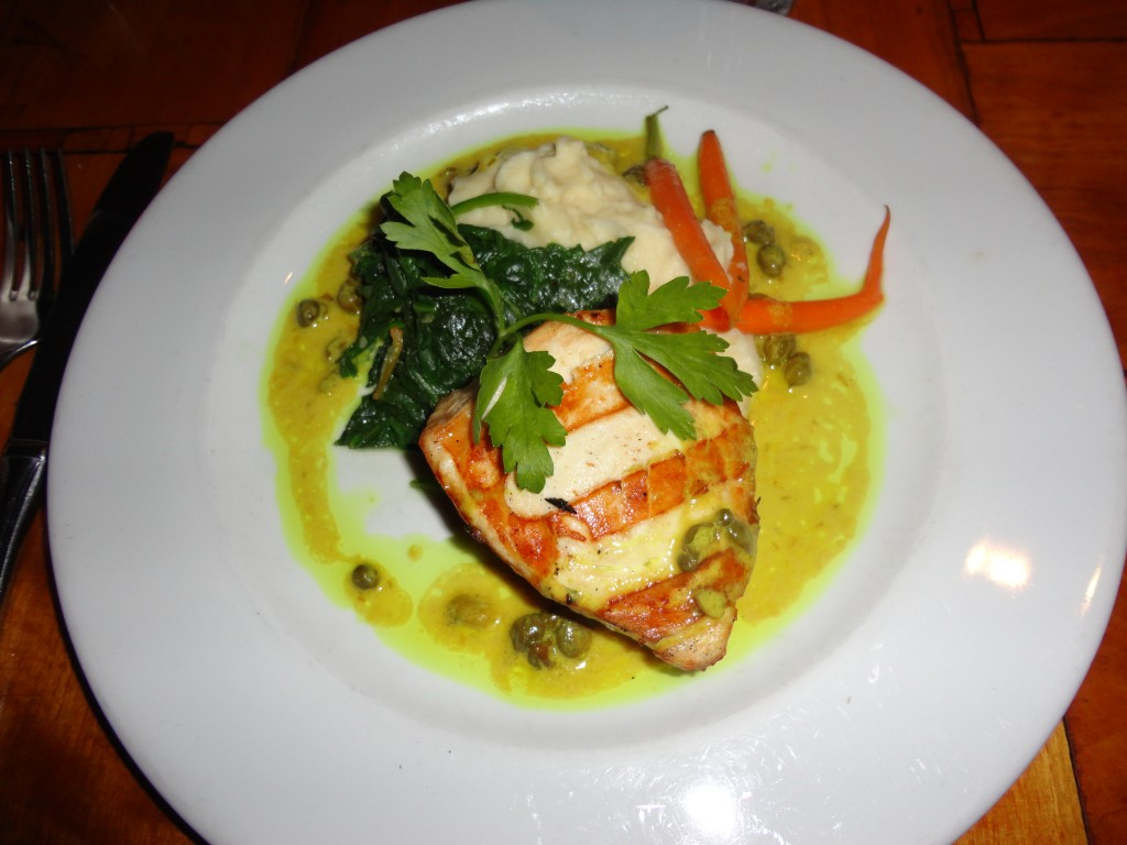 Grilled Pacific Swordfish: Baby Carrots, Sautéed Spinach, Yukon Gold Mash Potatoes, Lemon Caper Beurre Blanc