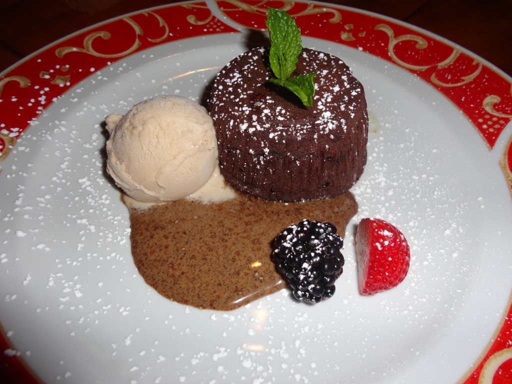 Valrhona Chocolate & Gianduja SoufflÉ Cake: Spiced Coffee Sauce & Hazelnut Ice Cream