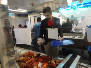 My boo picking out some lobster and crab
