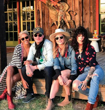 Jersey Banks, Lyon Porter, Shawna Watterson, and Bobbi Rich on the porch at the Rancho Pillow in Round Top, Tx.