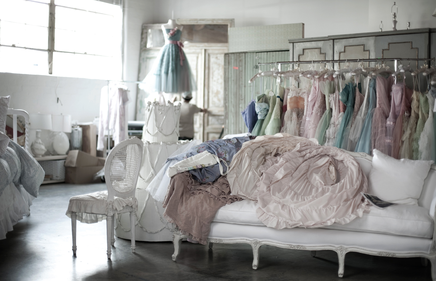 Vintage furniture and prom dresses Ashwell has collected. Photos by Amy Neunsinger and Sarah Pankow
