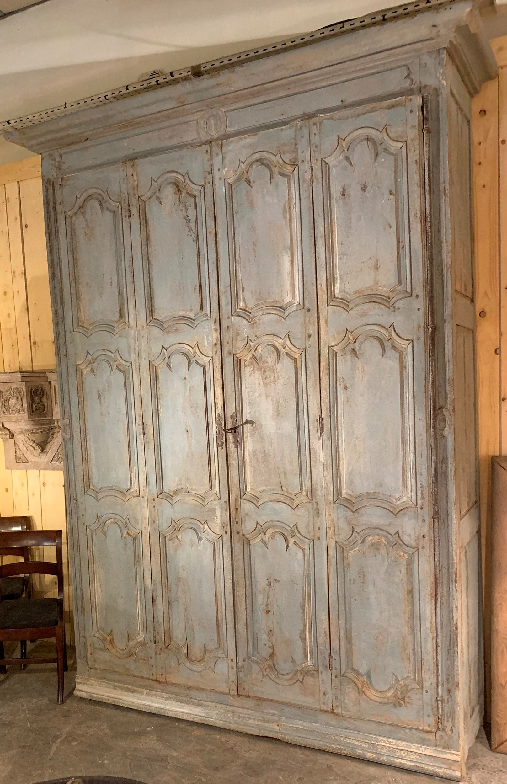 French 18th-century Louis XIV style painted armoire