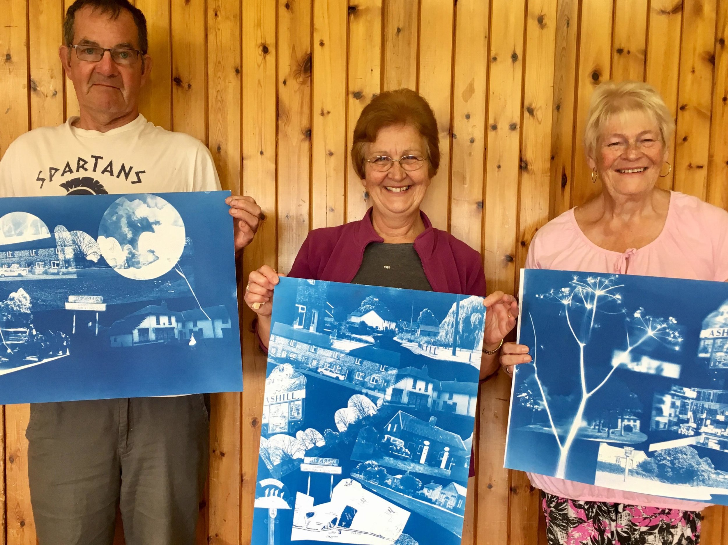 Cyanotype prints produced by residents in Ashill