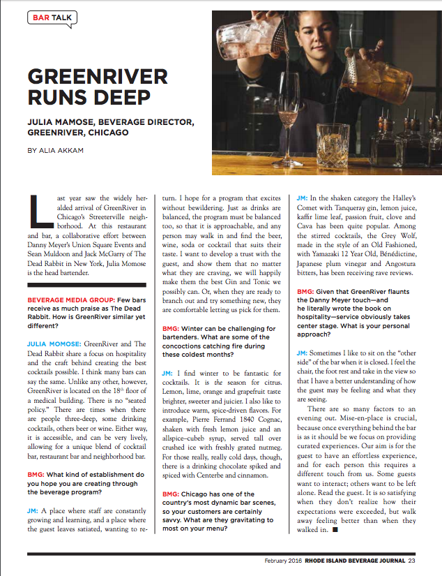 """""""Julia Momose, Beverage Director at GreenRiver in Chicago gets deep."""""""