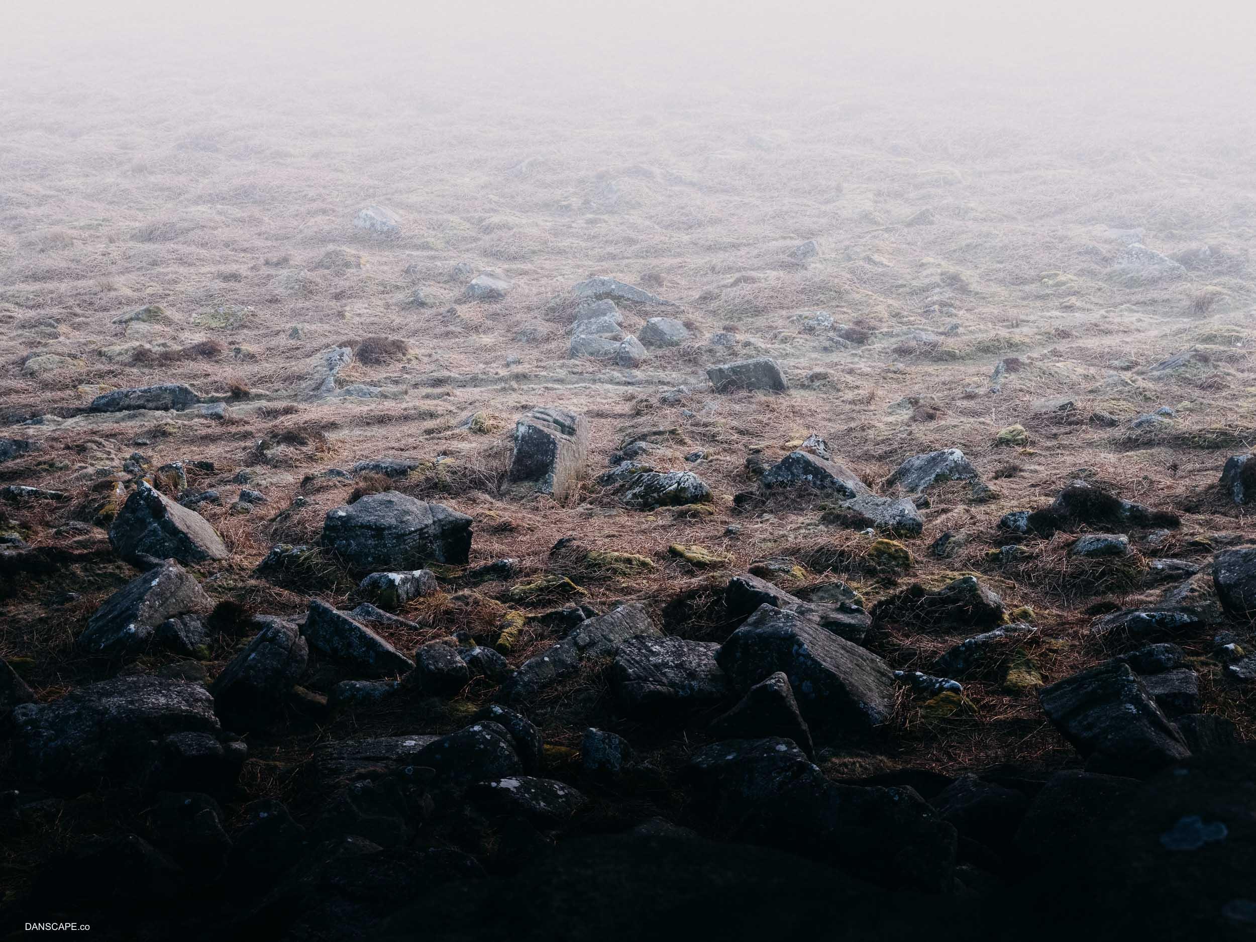 Crumbling Rocks at Higger Tor. Handheld at ISO2000