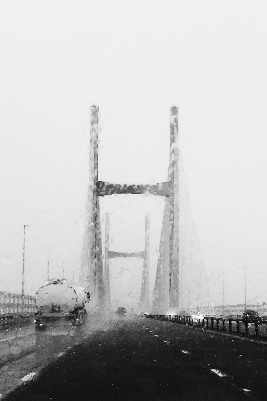 Rain on the Severn Bridge