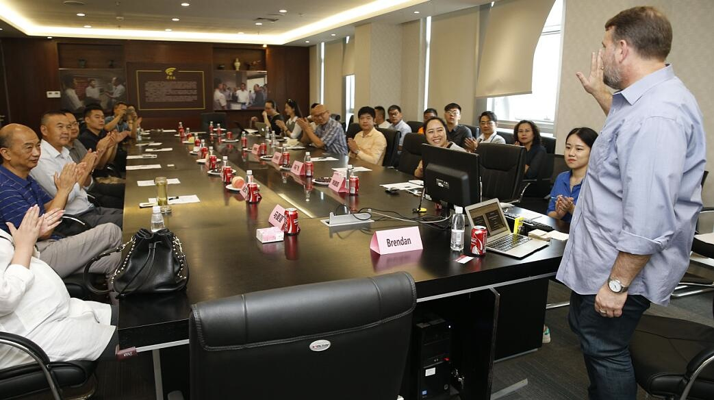 Newspaper boardroom giving a talk, Xi'An, China. August 25, 2016