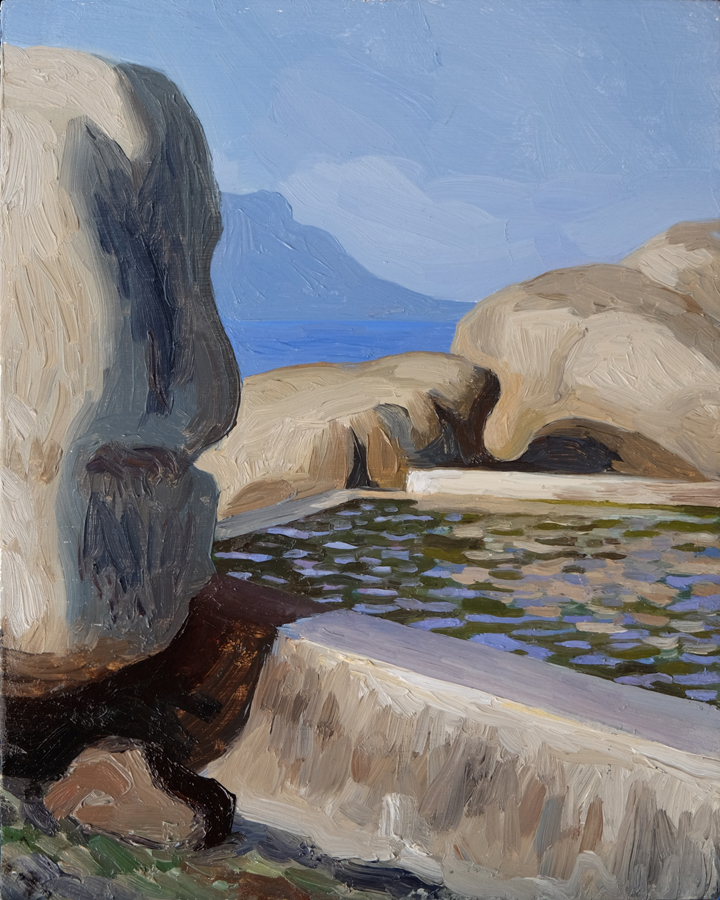 Maiden's Cove Pool II, Clifton  Oil on panel 20x25cm  Private collection