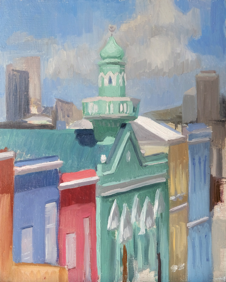 Boorhaanol Mosque II, Bo-Kaap  Oil on panel 20x25cm  2016  Private collection