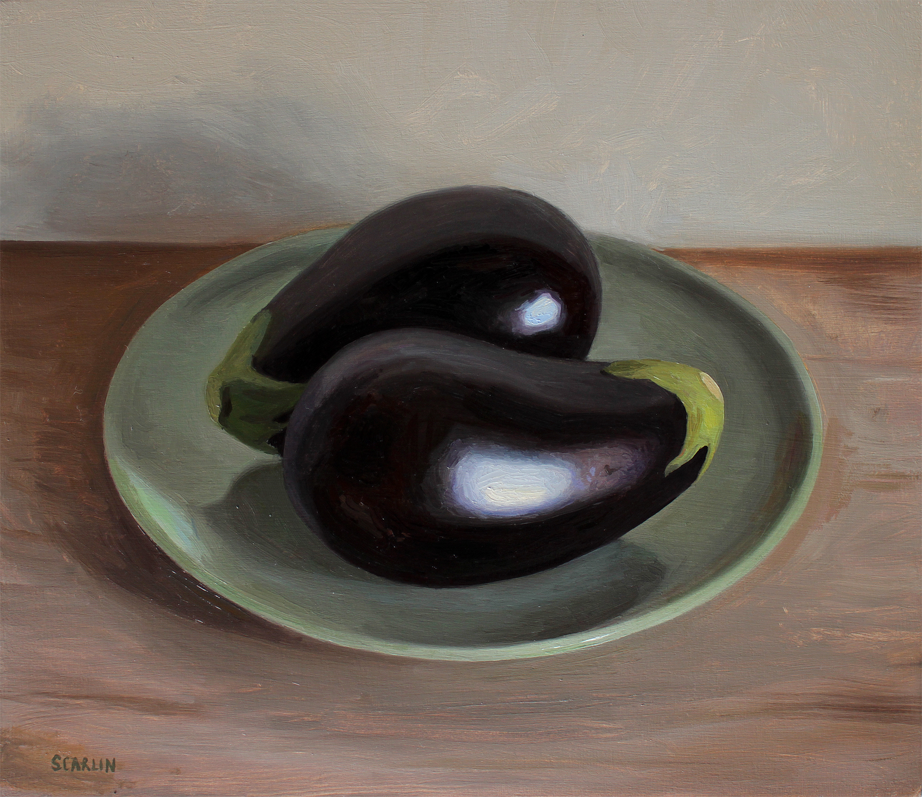 Eggplant on a plate   Oil on panel   30x35cm    2017    Private collection