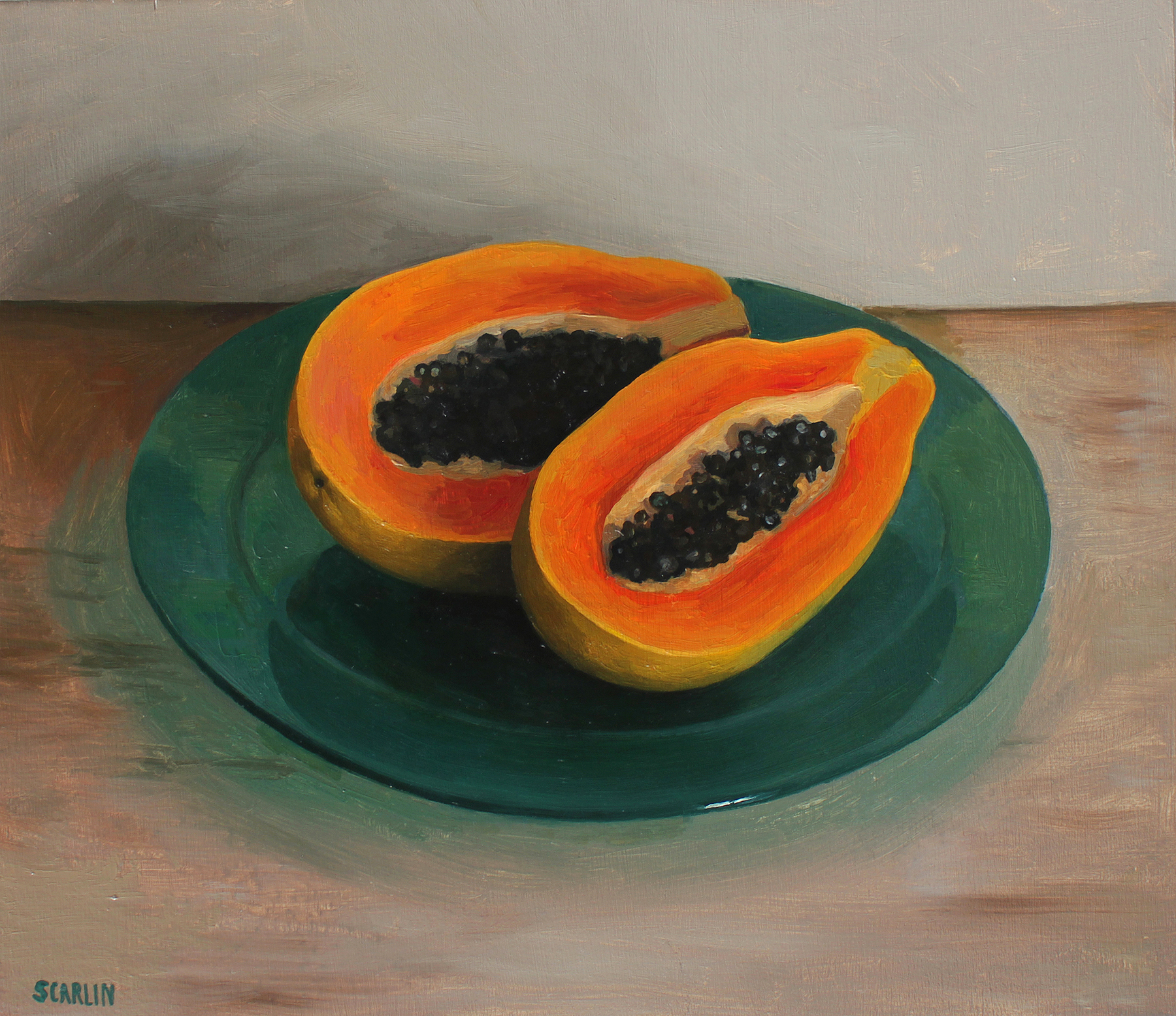 Papaya on a Glass Plate   Oil on panel   30x35cm    2017    Private collection