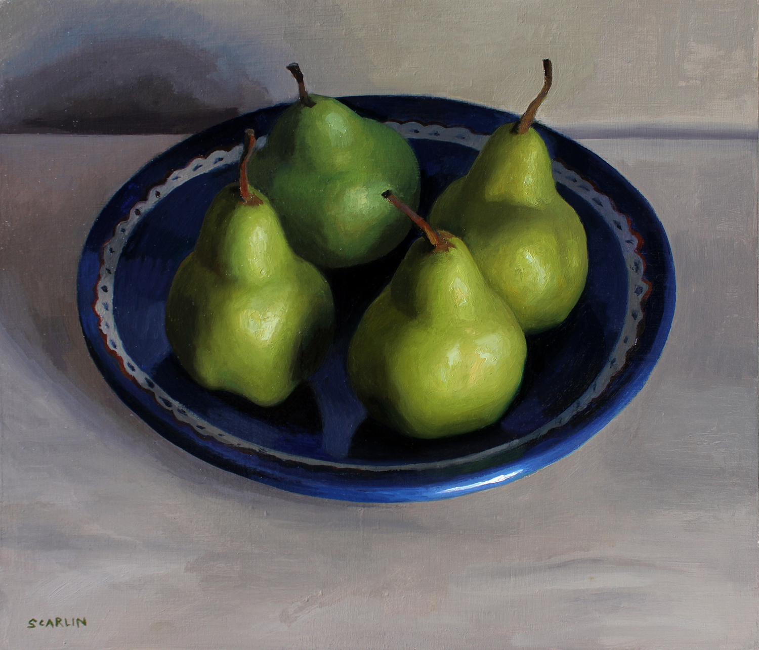 Pears on a Roman Plate   Oil on panel   30x35cm    2017    Private collection
