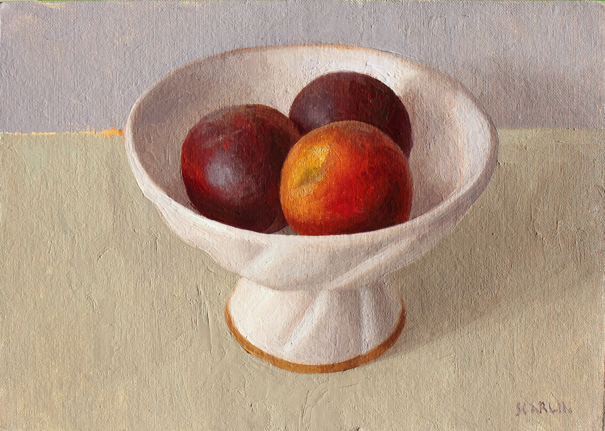 Three peaches  Oil on canvas board 25x35cm  2019   Available through Chandler House