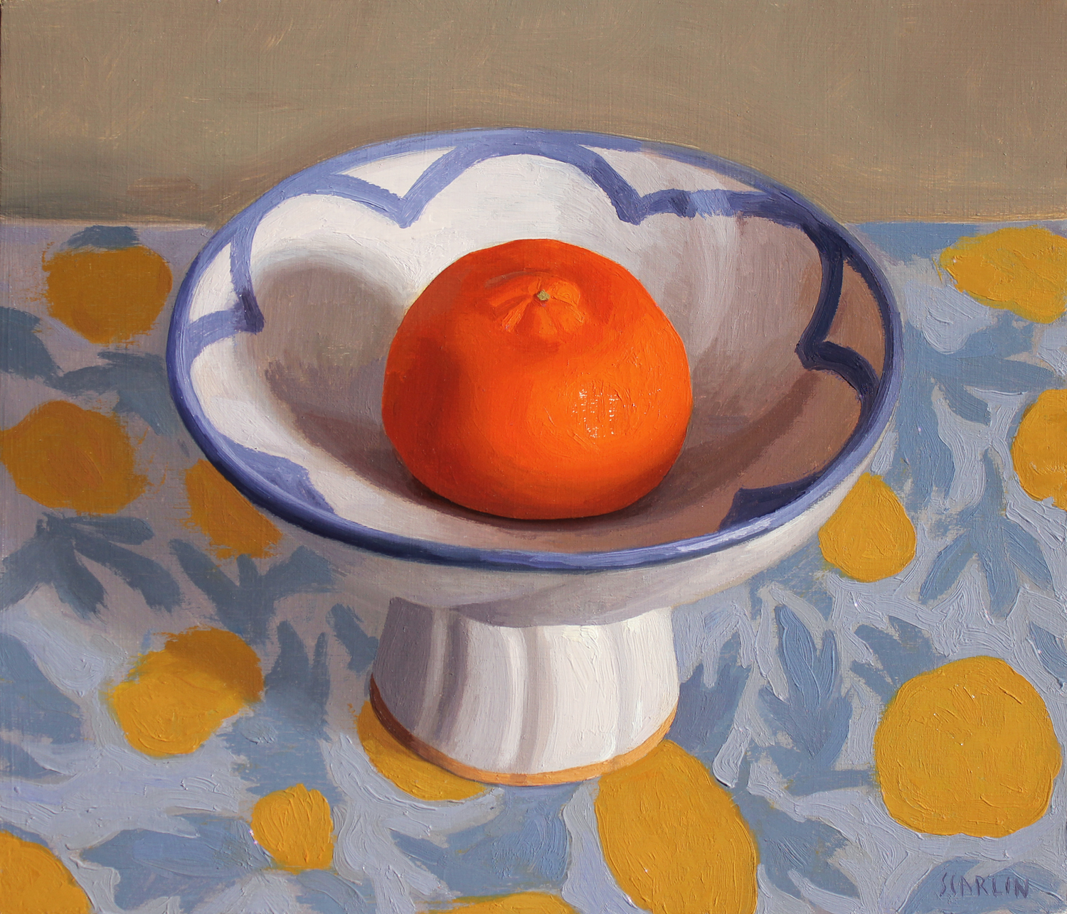 Naartjie in a bowl  Oil on panel 30x35cm  2019   Available through Chandler House