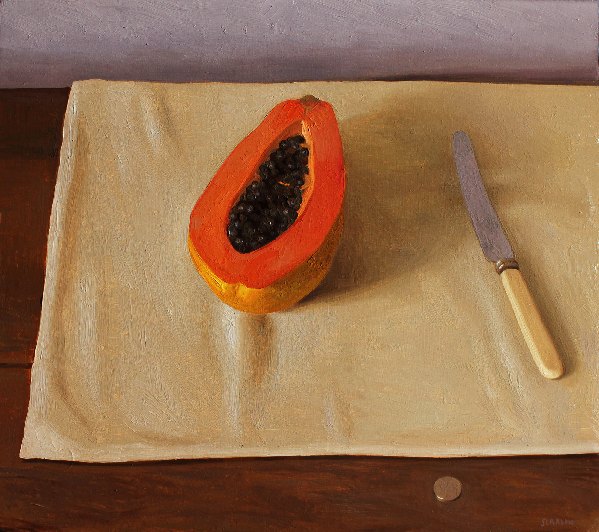 Papaya, knife and coin  Oil on panel 40x45cm  2019  Private collection