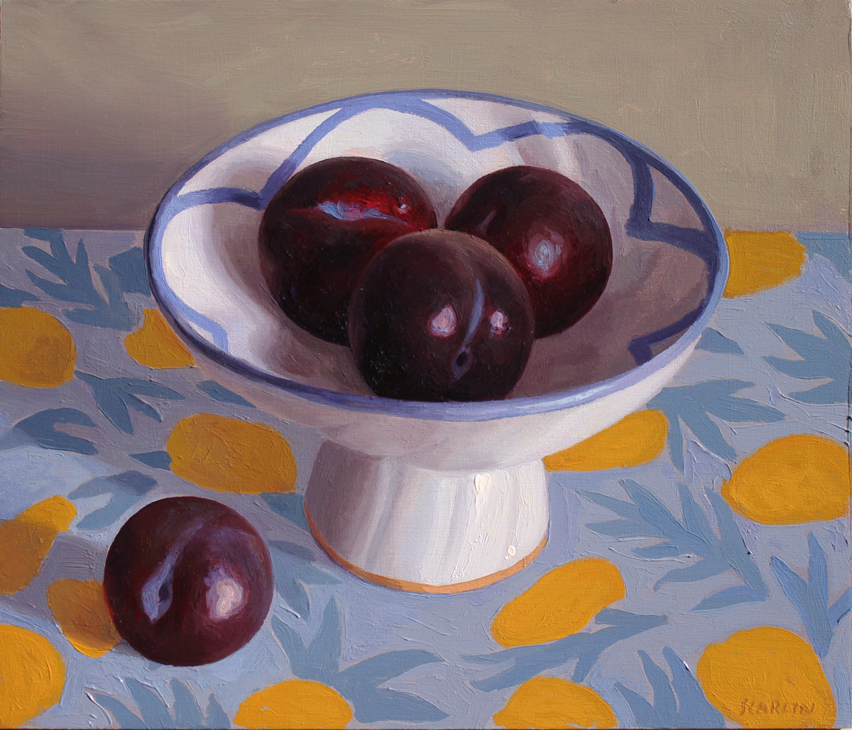 Four plums  Oil on panel 30x35cm  2019   Available through Chandler House
