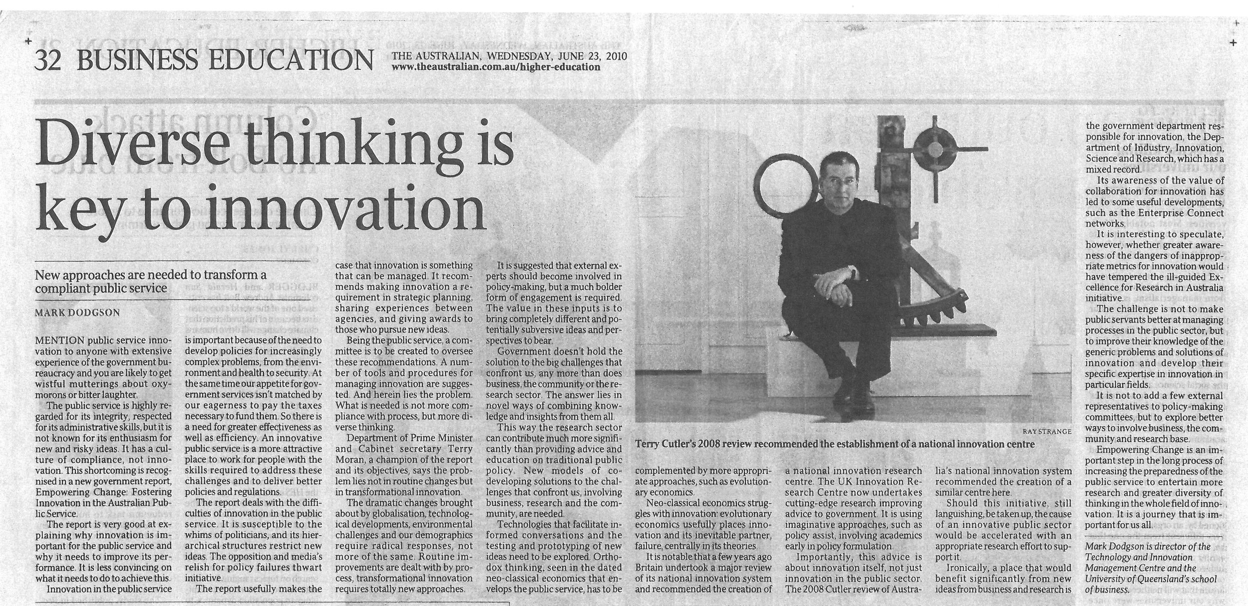 """Diverse thinking is key to innovation"" 23/06/2010"
