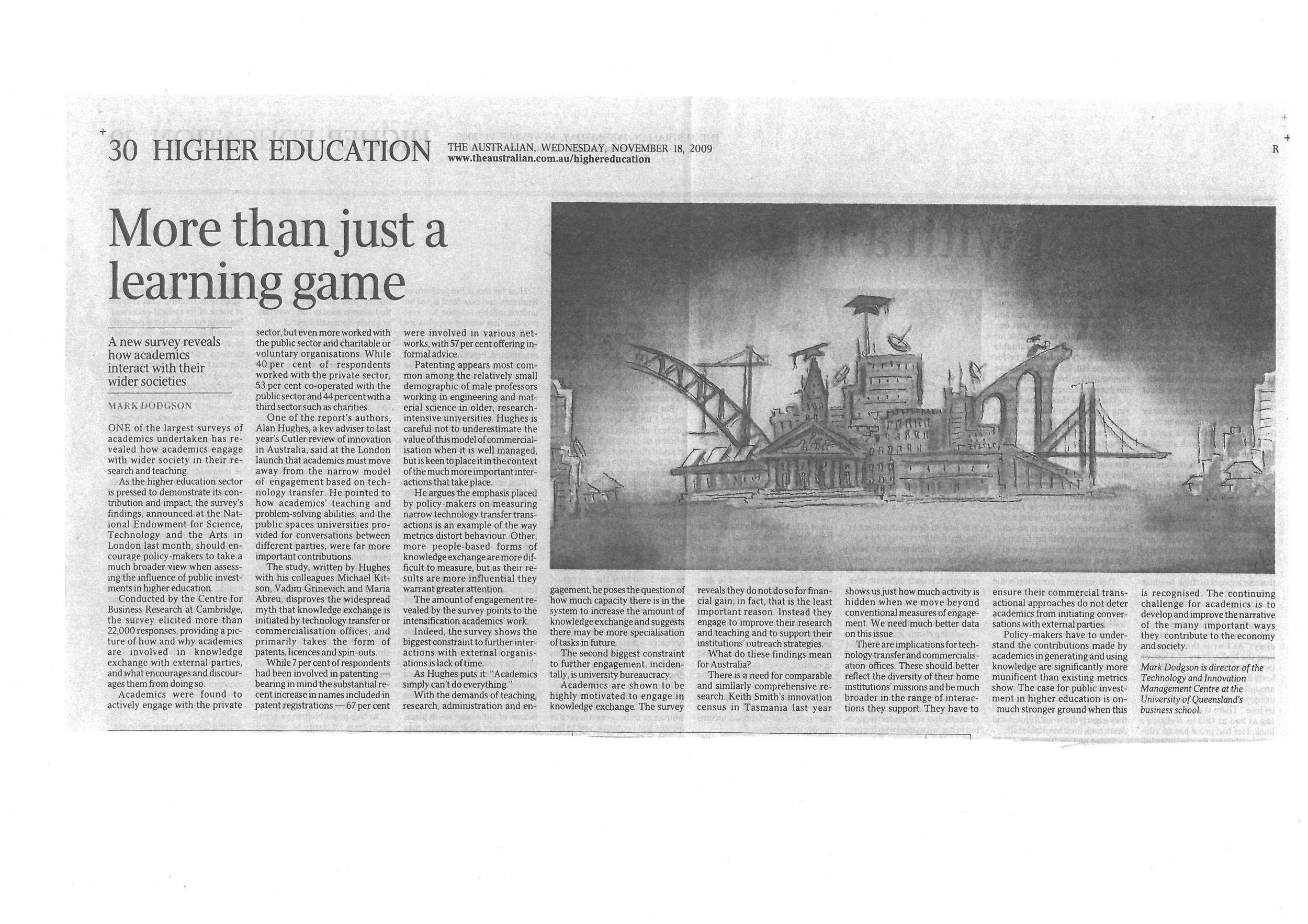 """More than a learning game"" – on a massive survey of academics' views on engagement 18/11/2009"