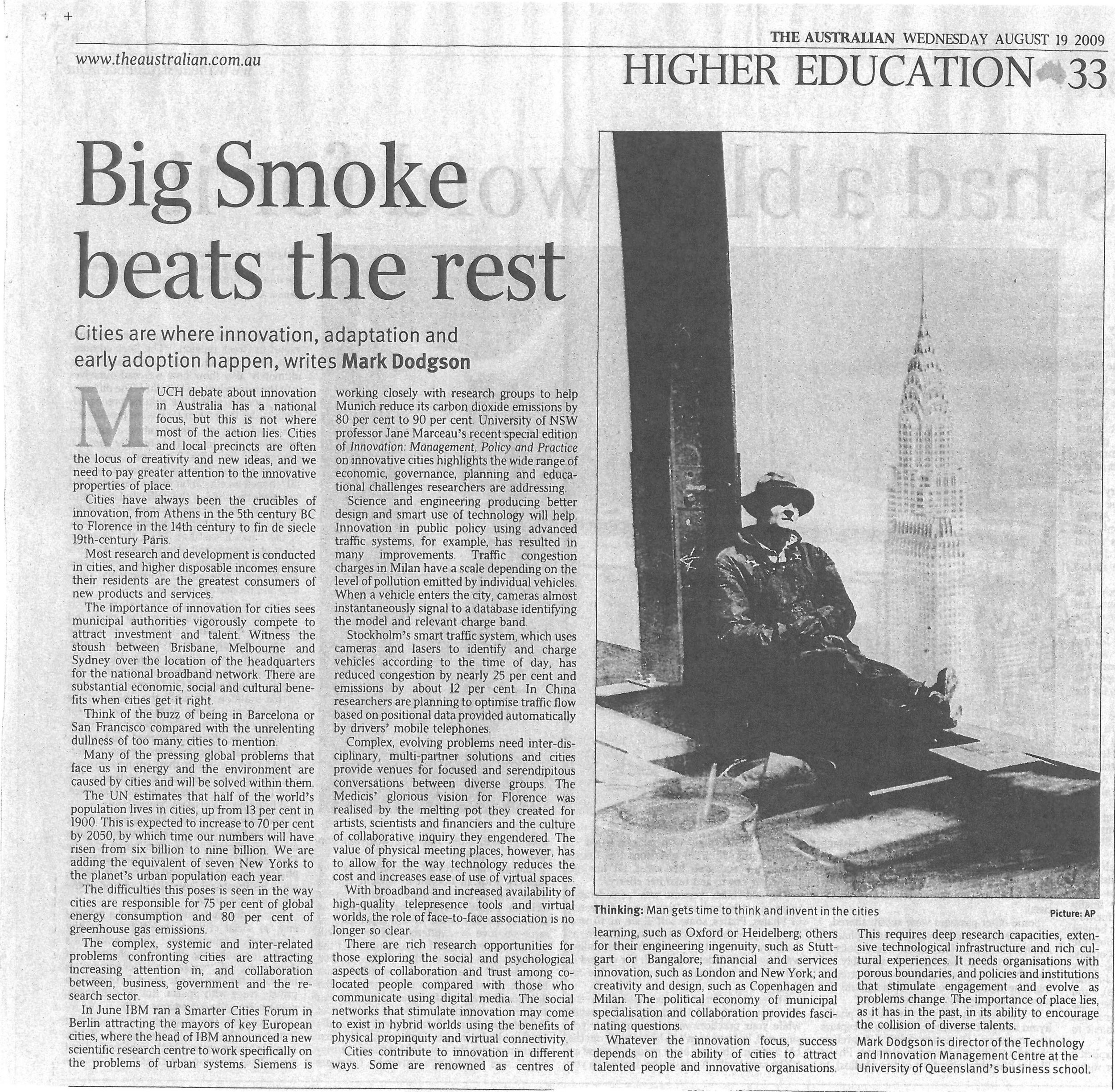 """Big smoke beats the rest"" – on the importance of cities for innovation 19/08/2009"