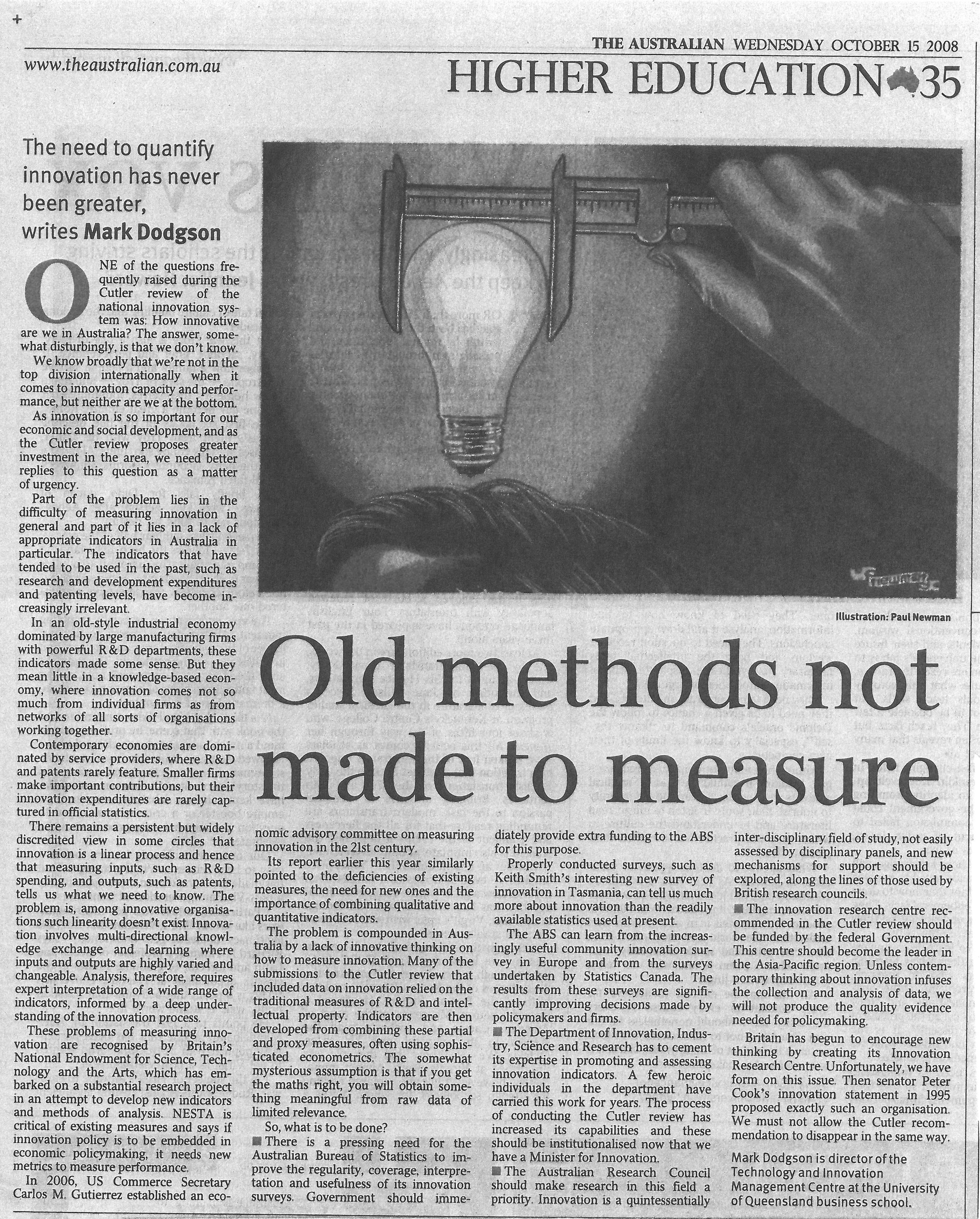 """Old method not made to measure"" – on the problem of quantifying innovations 15/10/2008"