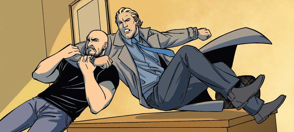 Contrary to traditional comic artistry, men like Ryback (pictured left) and Brock Lesnar actually appear less muscular than their real world counterparts in this book.