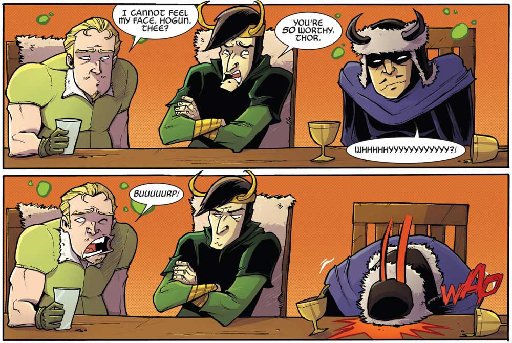 Two panels from CM Punk's contribution to the 2015 Thor Annual. For the story Punk used a style of writing pioneered in the 1960s called the 'Marvel Method'.