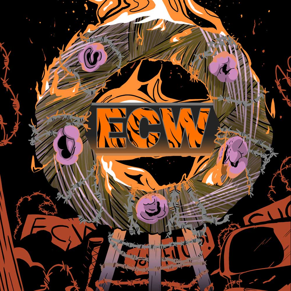 ECW flaming wreath barbed wire wrestling fans