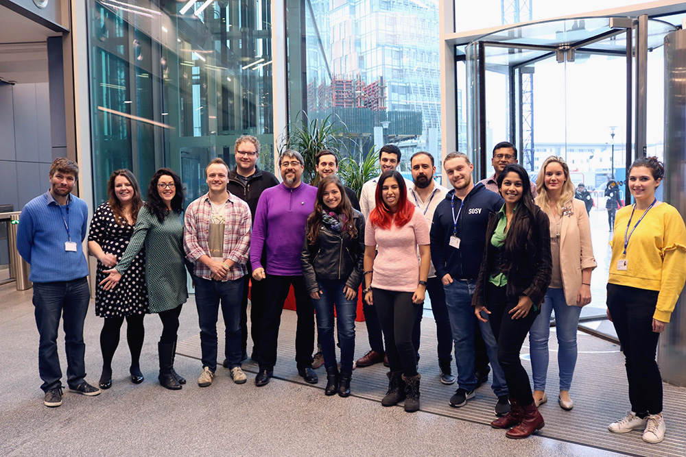 The RebelBio Team with each the CEO's of each of the 10 companies of Cohort V hosted at the White City Incubator