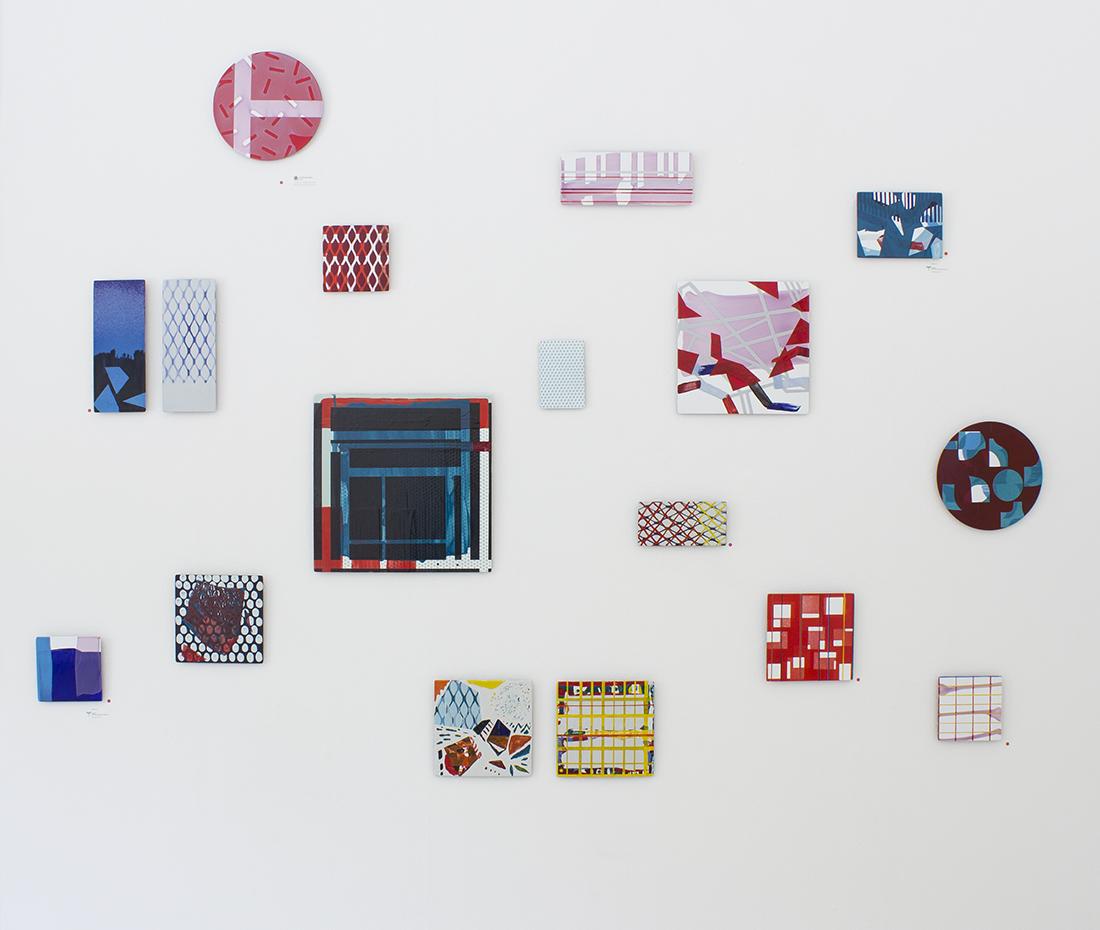 Installation of small enamels at Gallery Göteborgs Konstförening in Gothenburg 2016