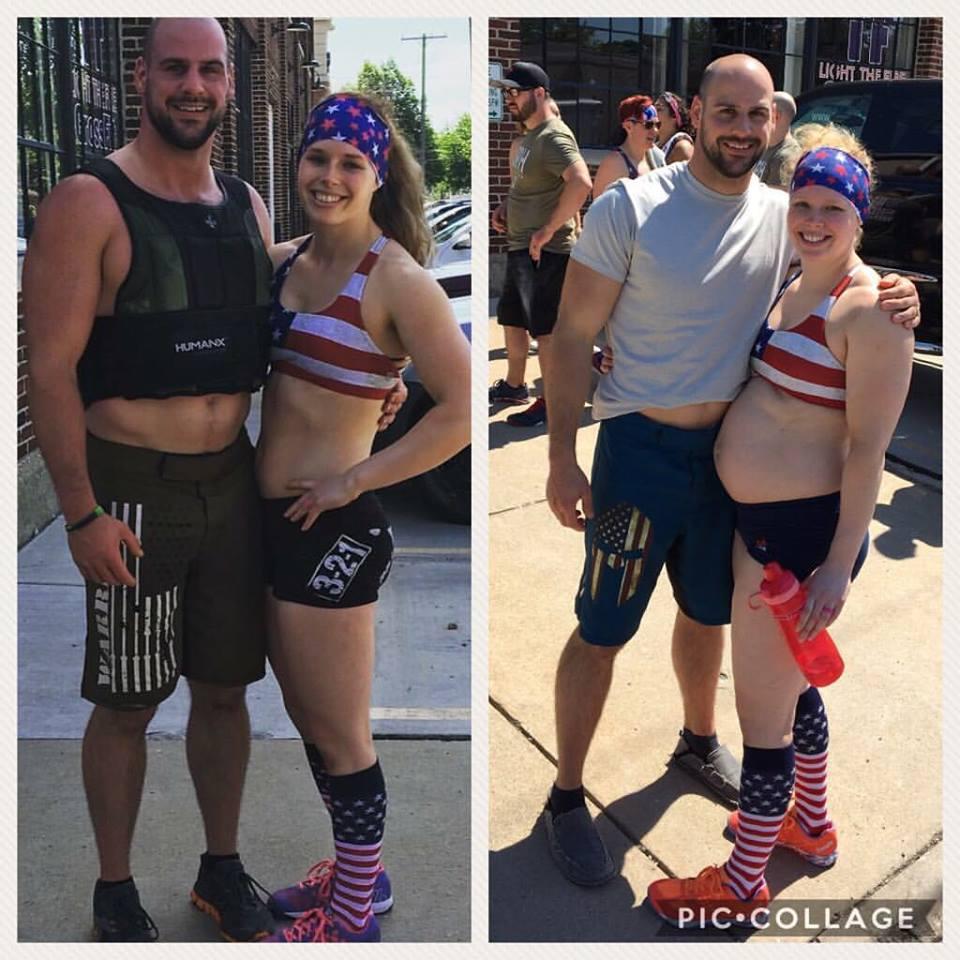 Murph 2016 vs Murph 2017 at 24 weeks pregnant