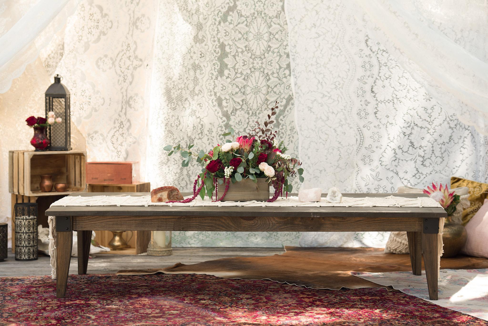 Tampa Boho low table rentals