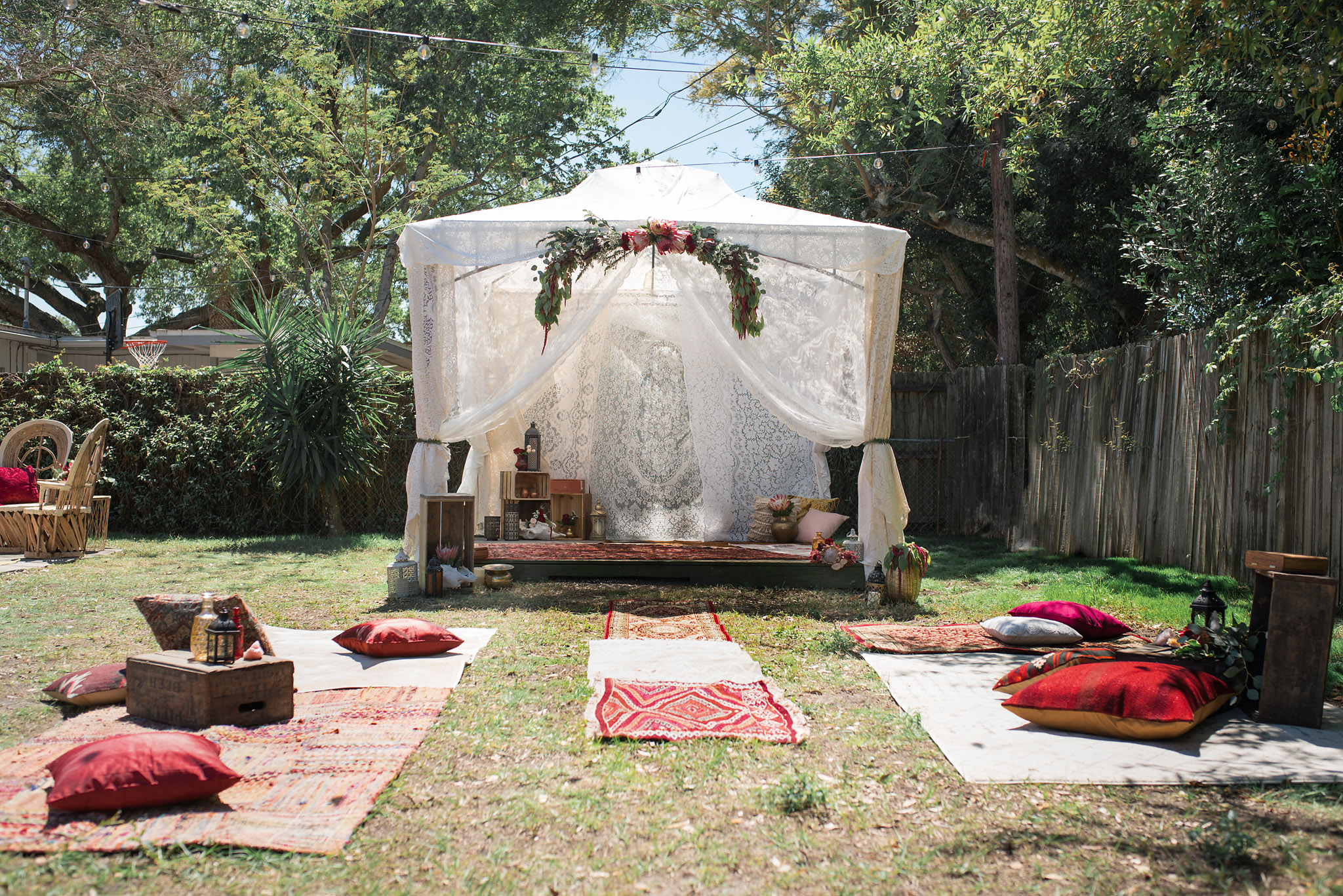 Bohemian Lace Ceremony Tent