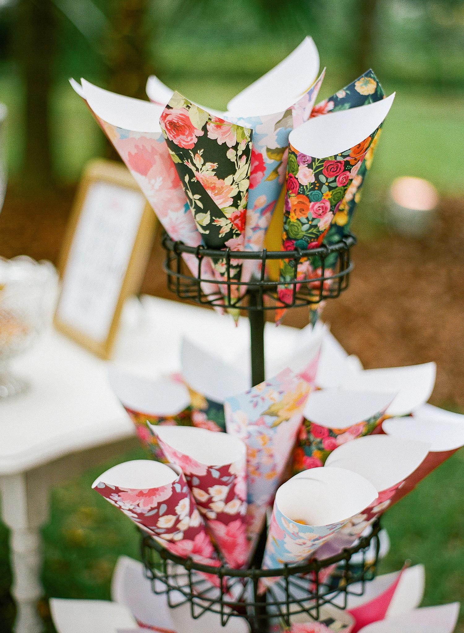 Floral Paper Wedding Favor Cones