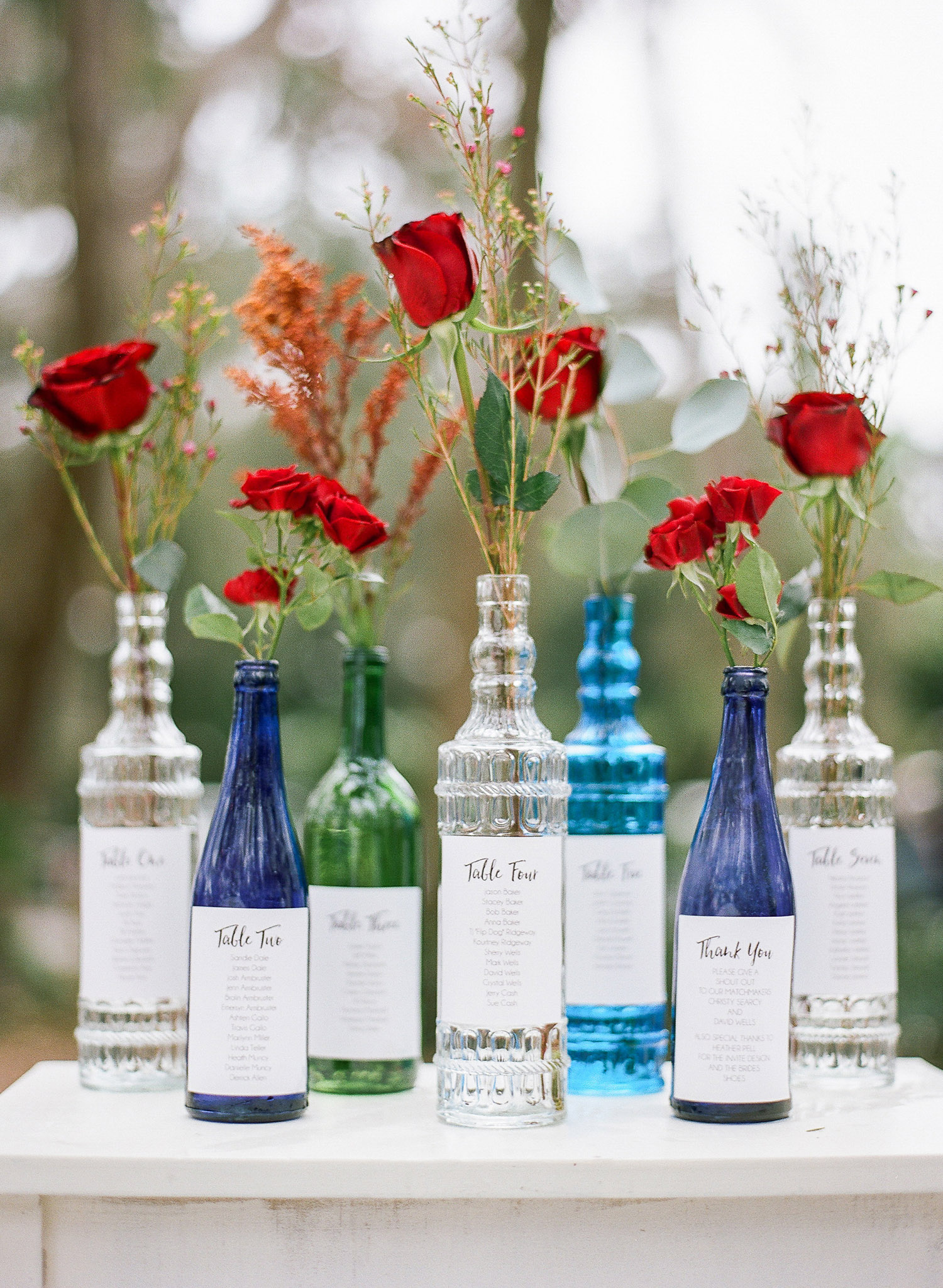 Colorful Bottle Seating Chart