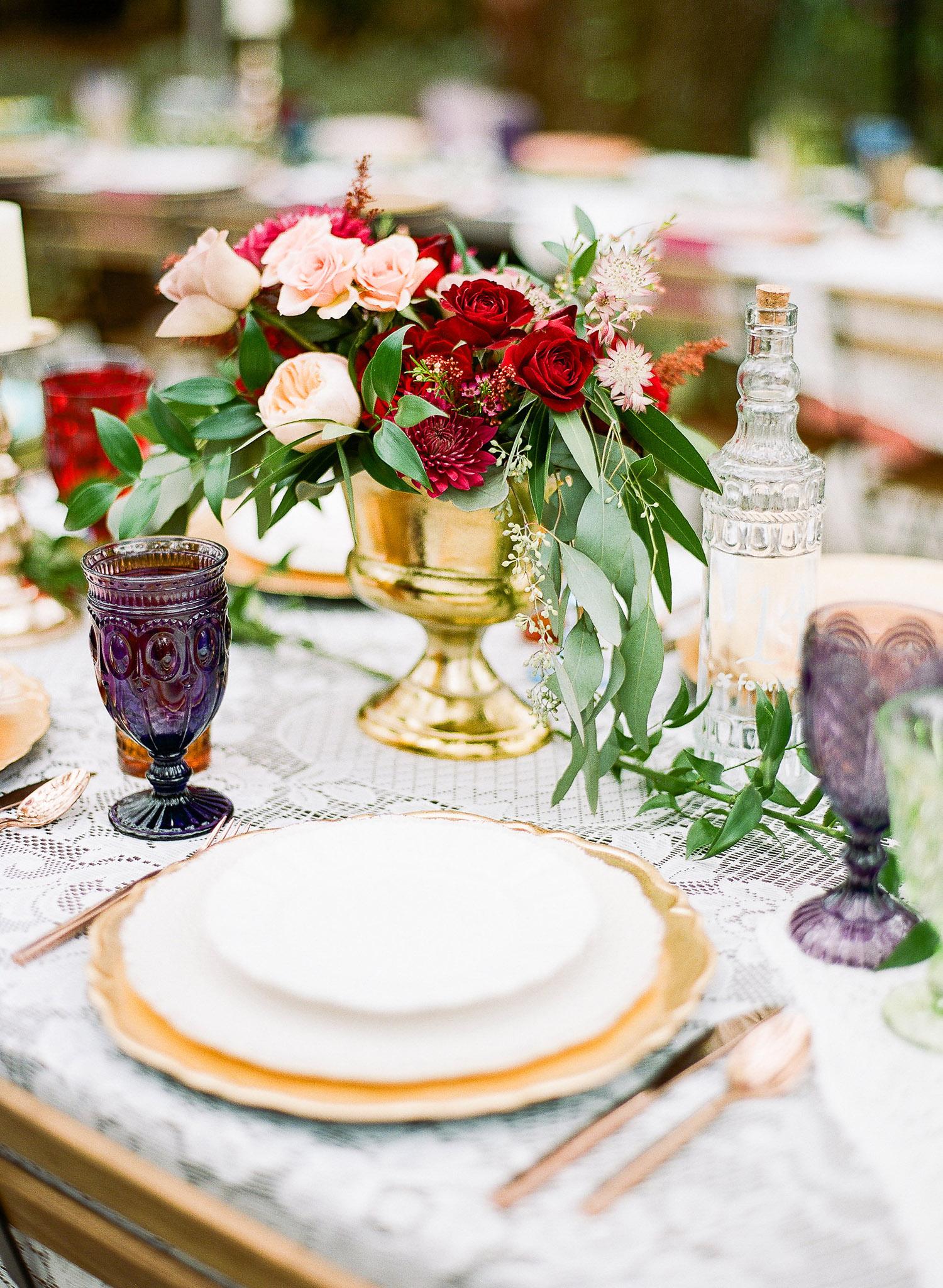 Jewel tone wedding decor