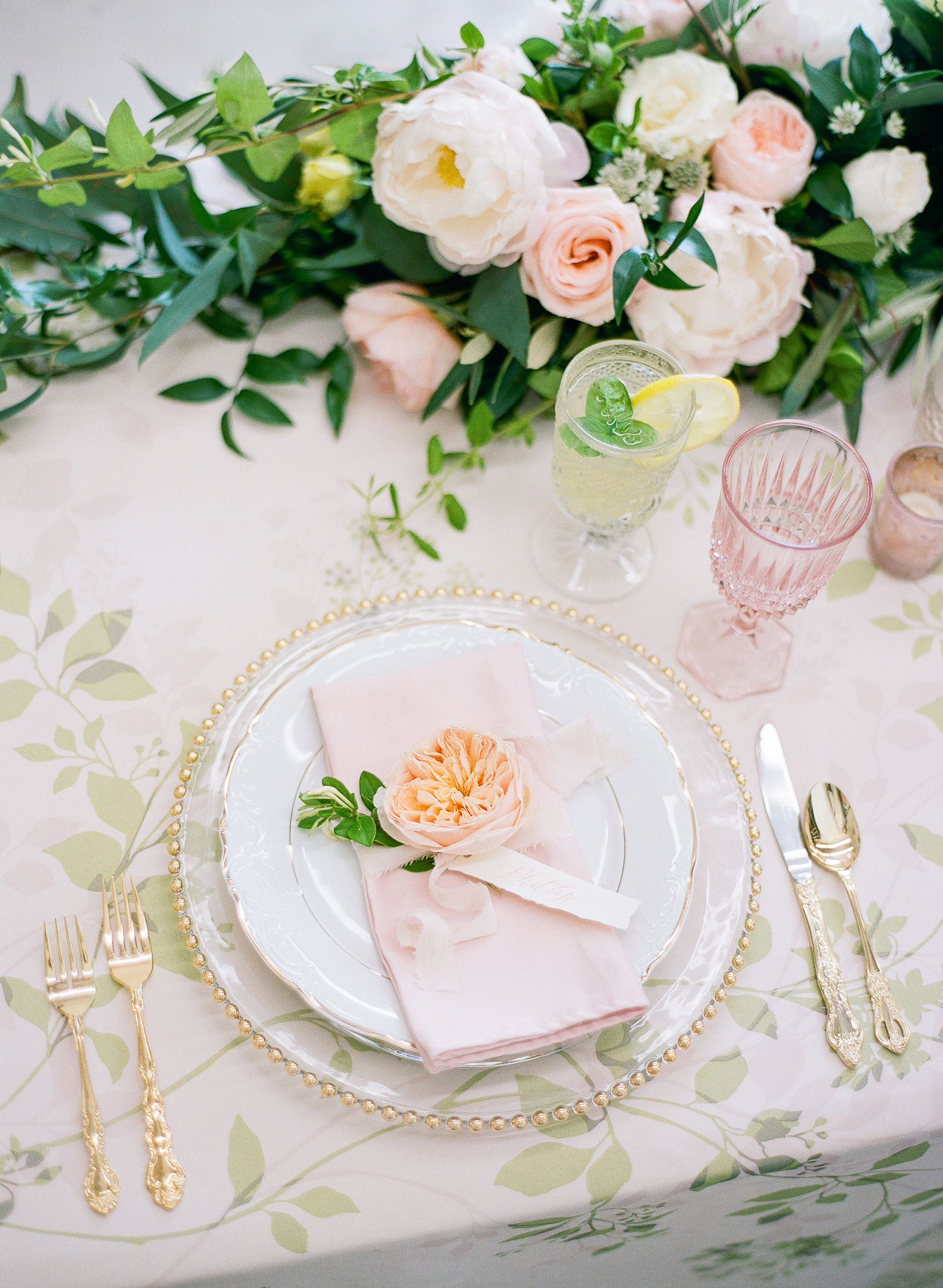 wedding floral linen tablecloth