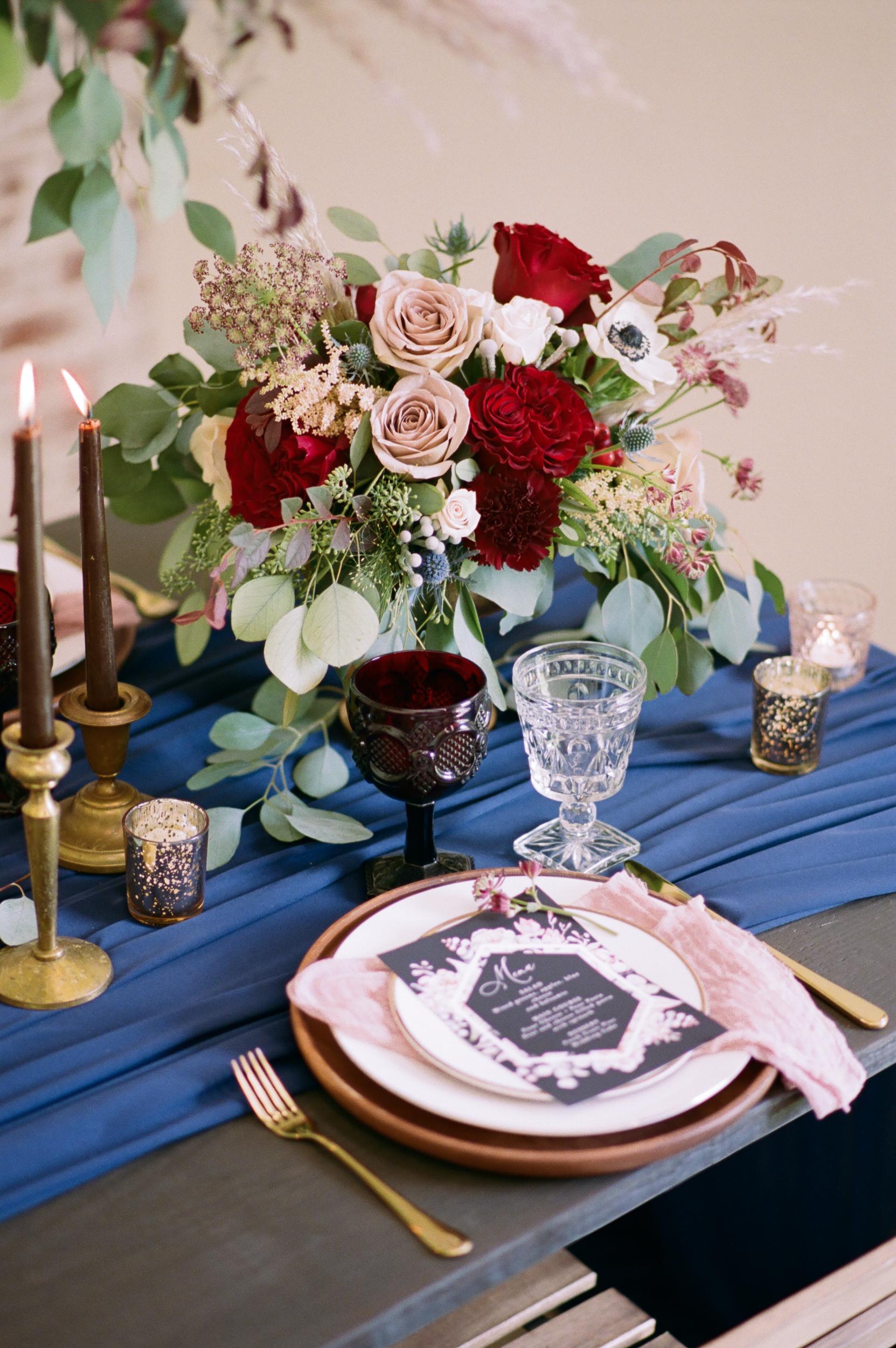 Burgundy and Navy Wedding Decor
