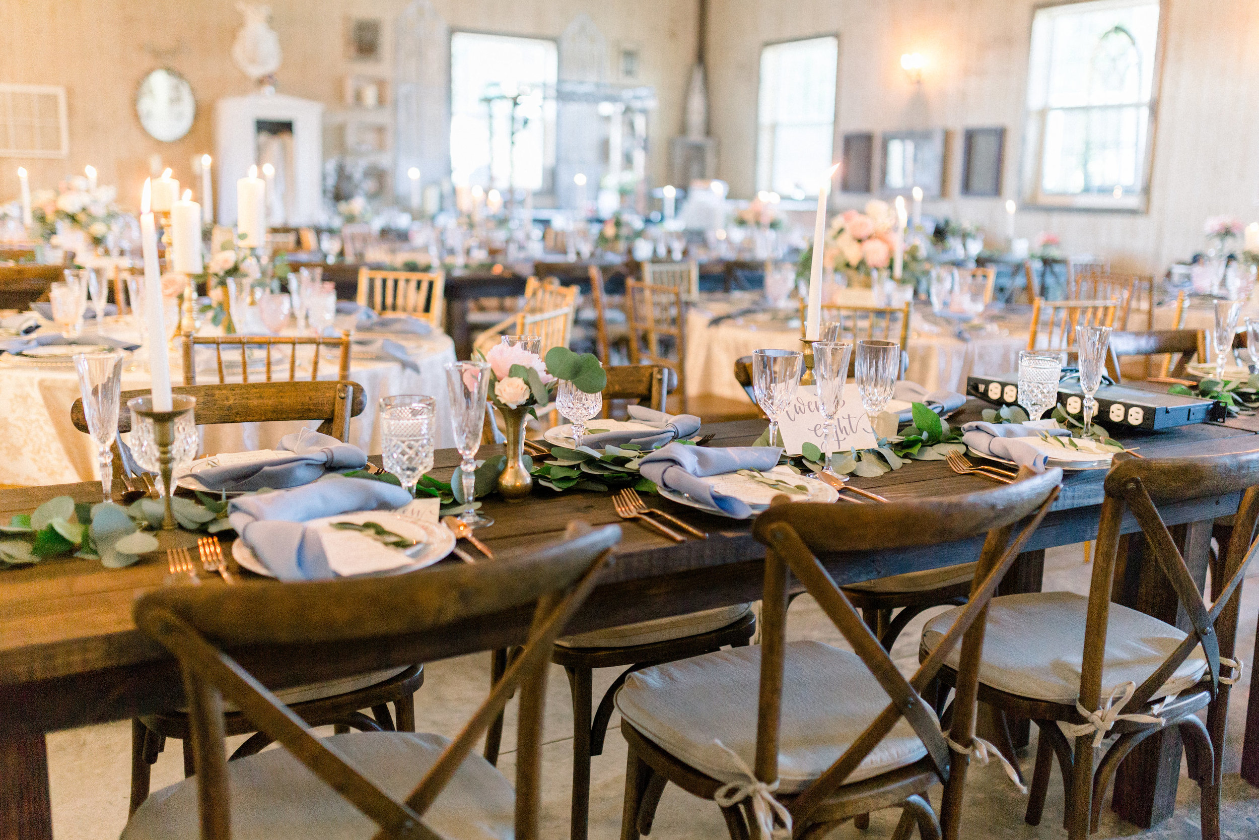 Slate blue and Blush Tablescape