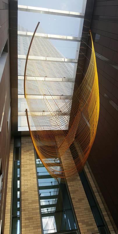 "Nylon Rope powder coated steel  168""x118""x 260"" | Fiber |Rachel Mica Weiss"