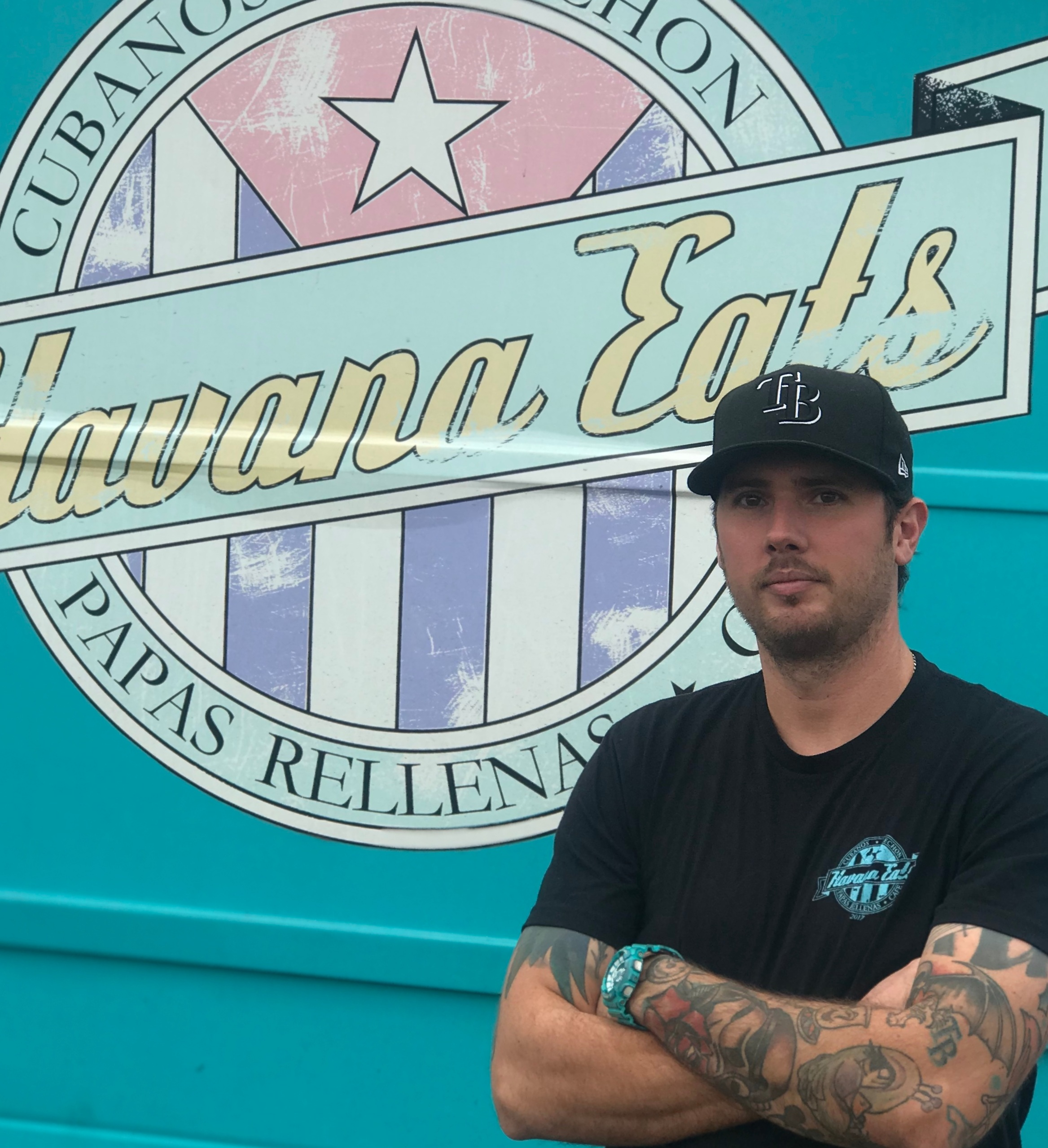 "Founder and owner, Brett Roderick, in front of the first Havana Eats food truck, ""Cosita"" – named for it's small size as compared to other food trucks."