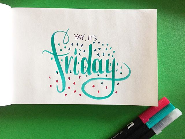 🎉 time to get your weekend on #sixtysecondsketch #handlettering #happyfriday #vtkallday #coffeeart #tombow