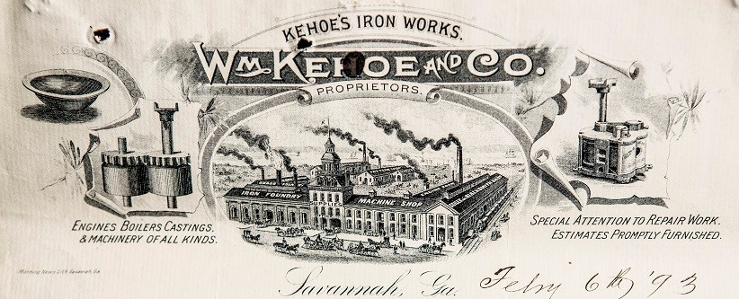 """Kehoe's Iron Works,"" (1893) Contracts 0115-002-21, 1891-1894, Box #CON 5, Folder # 28, City of Savannah Research Library & Municipal Archives, Savannah, Georgia."