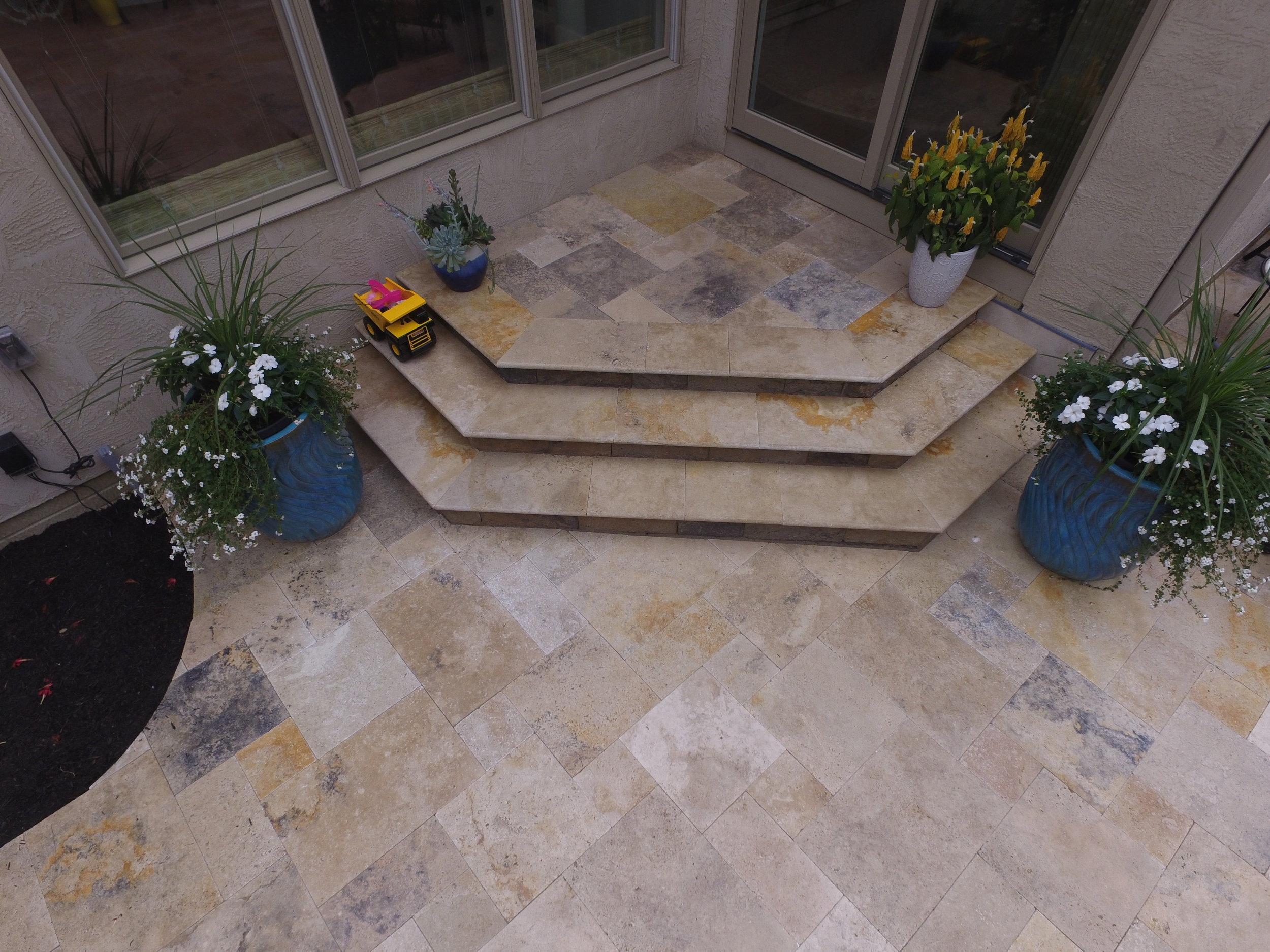 Travertine over Versa Lok Steps