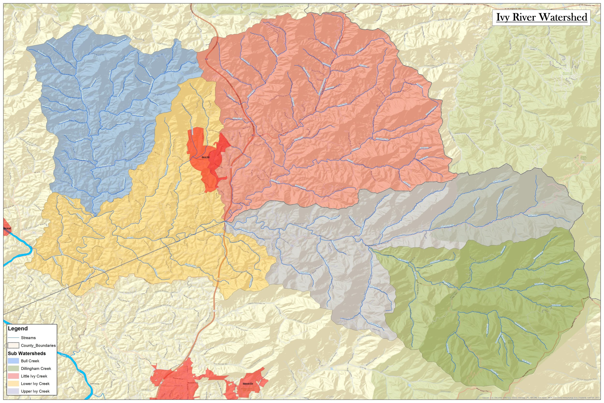 Map of the Ivy River Watershed - click to enlarge